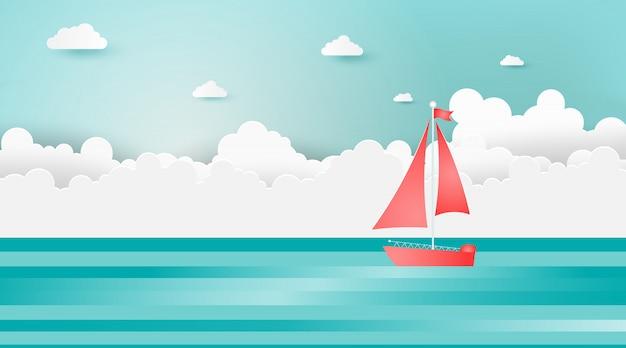 Le barche a vela sull'oceano abbelliscono con il giorno soleggiato. Vettore Premium