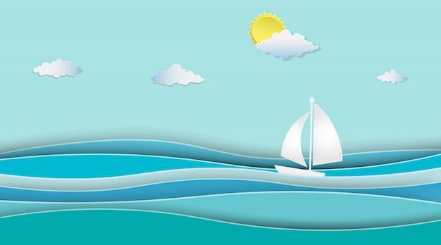 Le barche a vela sull'oceano abbelliscono con soleggiato. Vettore Premium
