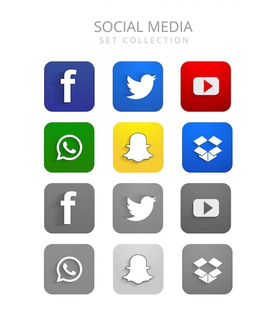 Le belle icone variopinte di media sociali hanno fissato il vettore Vettore gratuito