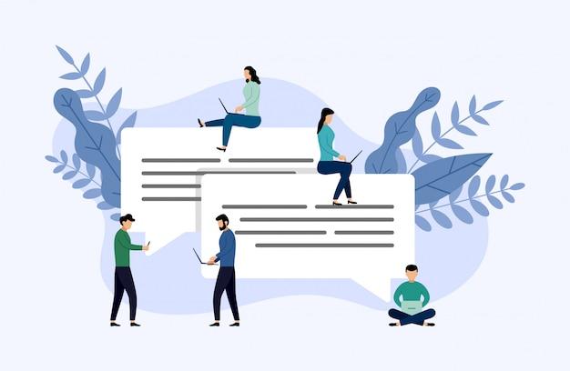 Le bolle del messaggio chiacchierano, la gente chat online, illustrazione di vettore di concetto di affari Vettore Premium