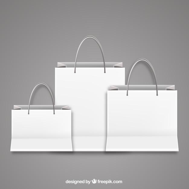 Le borse della spesa in bianco Vettore gratuito