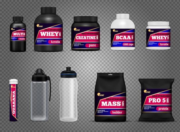 Le bottiglie della bevanda di forma fisica mettono in mostra l'insieme trasparente scuro bianco nero realistico dei pacchetti dei contenitori della proteina di nutrizione isolato Vettore gratuito