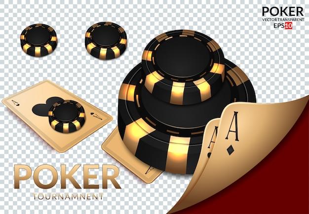 Le carte da gioco e le fiches del poker pilotano il casinò. Vettore Premium