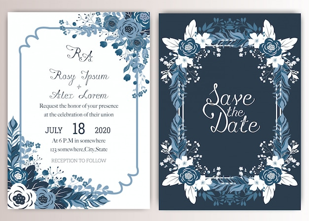 Le carte di nozze eleganti consistono di vari generi di fiori. Vettore Premium