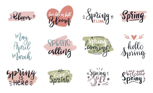 Le cartoline d'auguri dell'iscrizione di tempo di primavera hanno messo il manifesto speciale di tipografia di vendita di primavera nell'illustrazione di colori rosa, verde e bianca. citazione del testo fatto a mano in primavera o in estate Vettore Premium