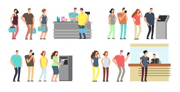 Le code di persone vector set. uomo e donna in fila in atm, terminal e banca Vettore Premium
