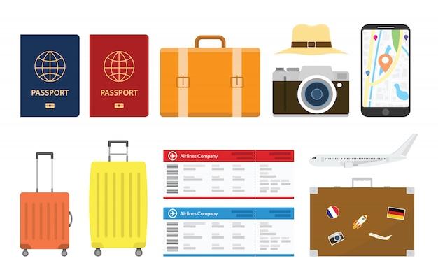 Le collezioni di set da viaggio o da vacanza sono oggetto di un moderno stile piatto con varie forme e funzioni Vettore Premium