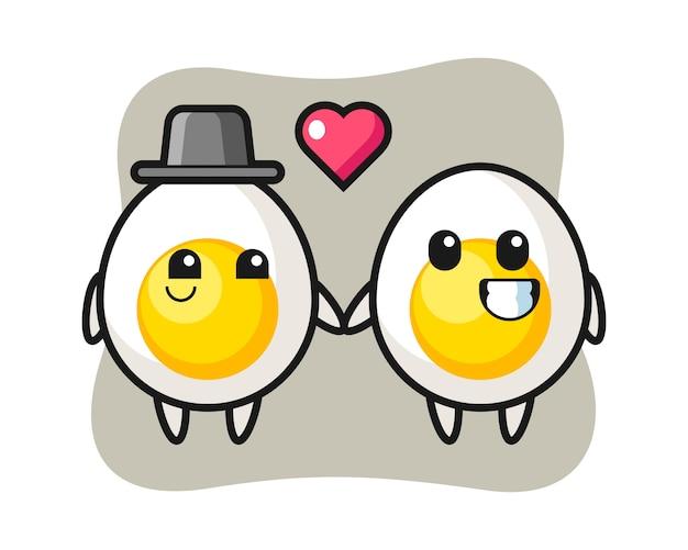 Le coppie del personaggio dei cartoni animati dell'uovo sodo con innamorarsi gesticolano Vettore Premium