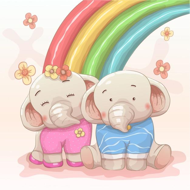 Le coppie dell'elefante sveglio si amano con il fondo dell'arcobaleno Vettore Premium