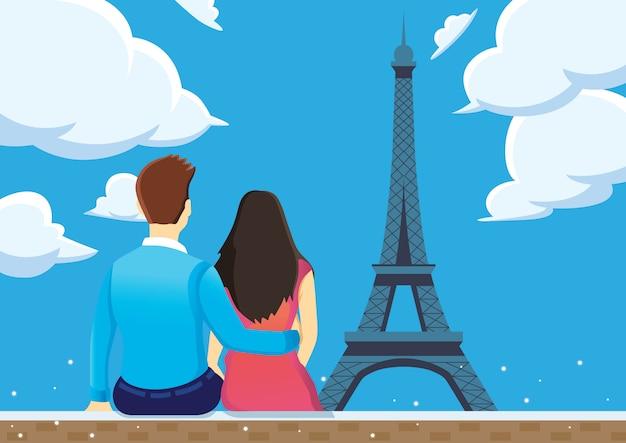 Le coppie godono vicino alla torre eiffel con cielo blu. Vettore Premium