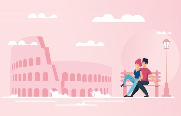 Le coppie nell'amore riposano sul banco vicino al punto di riferimento famoso Vettore Premium
