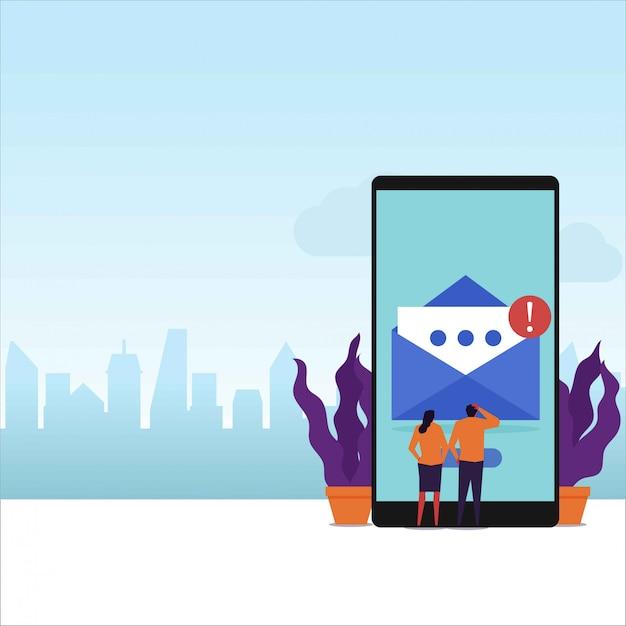 Le coppie piane di concetto di vettore del messaggio di posta elettronica ricevono la notifica del email sullo schermo del telefono. Vettore Premium