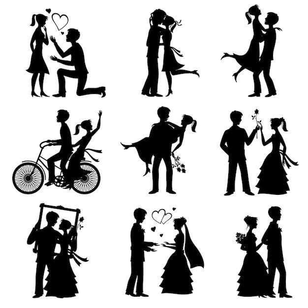 Le coppie romantiche di amore vector le siluette Vettore Premium