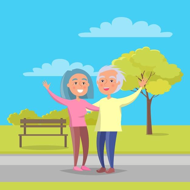 Le coppie senior del giorno felice dei nonni camminano insieme Vettore Premium