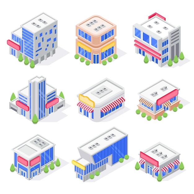 Le costruzioni isometriche del deposito del centro commerciale, l'esterno del negozio, la costruzione del supermercato e l'architettura moderna dei depositi della città hanno isolato l'insieme 3d Vettore Premium