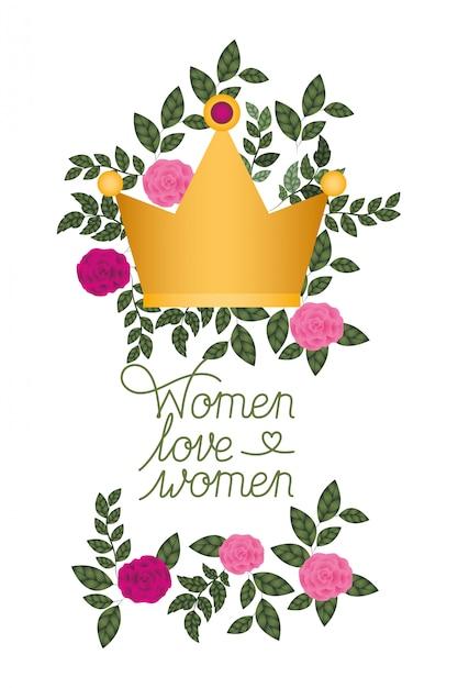 Le donne amano l'etichetta delle donne con l'icona isolata rose Vettore Premium