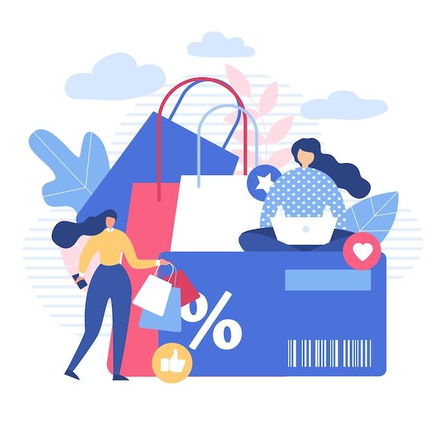 Le donne che acquistano online con sconti utilizzano gadget Vettore Premium