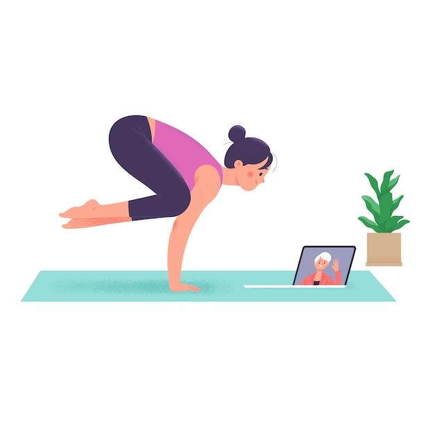 Le donne che fanno yoga durante la loro permanenza a casa durante la conferenza videochiamata Vettore Premium