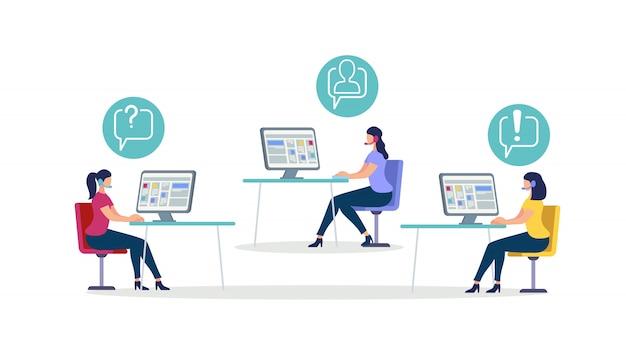 Le donne che indossano la cuffia siedono alle scrivanie con il computer Vettore Premium
