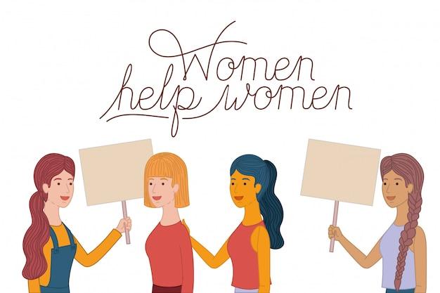 Le donne con etichetta femminile aiutano il carattere femminile Vettore Premium