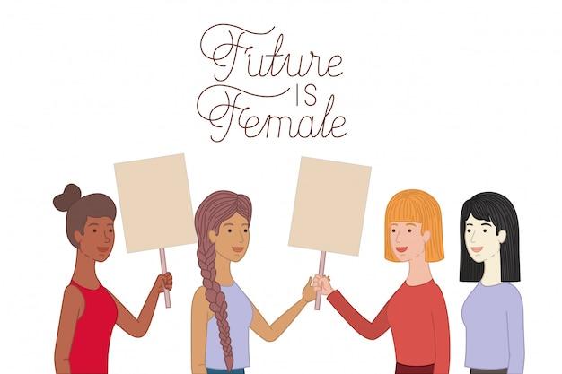 Le donne con futuro dell'etichetta sono donne Vettore Premium