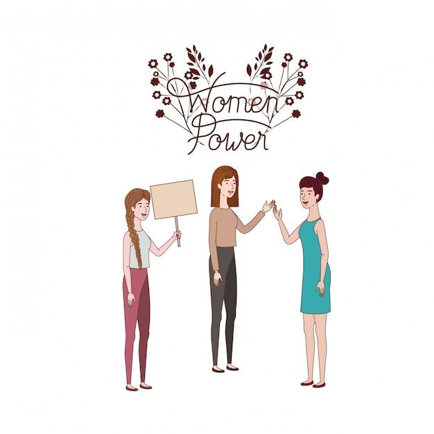 Le donne con il carattere femminile delle donne dell'etichetta Vettore Premium