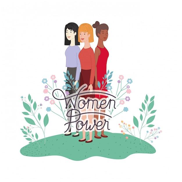 Le donne con le donne etichetta potere personaggio avatar Vettore Premium