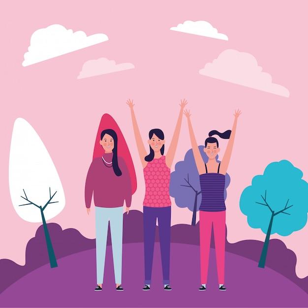 Le donne con le mani in alto Vettore Premium