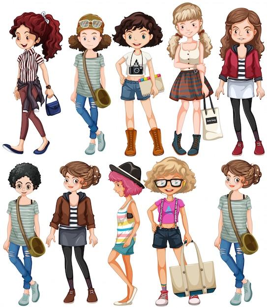 Le donne in abiti diversi Vettore gratuito