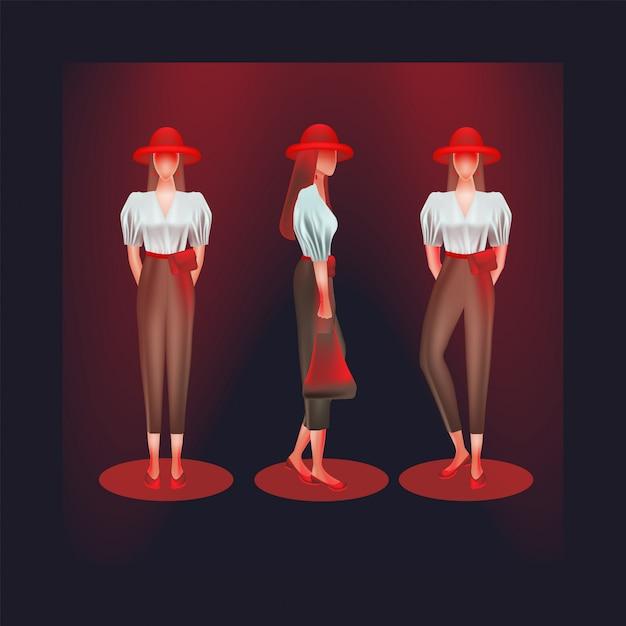 Le donne indossano camicie e pantaloni a vita alta in vari modi Vettore Premium