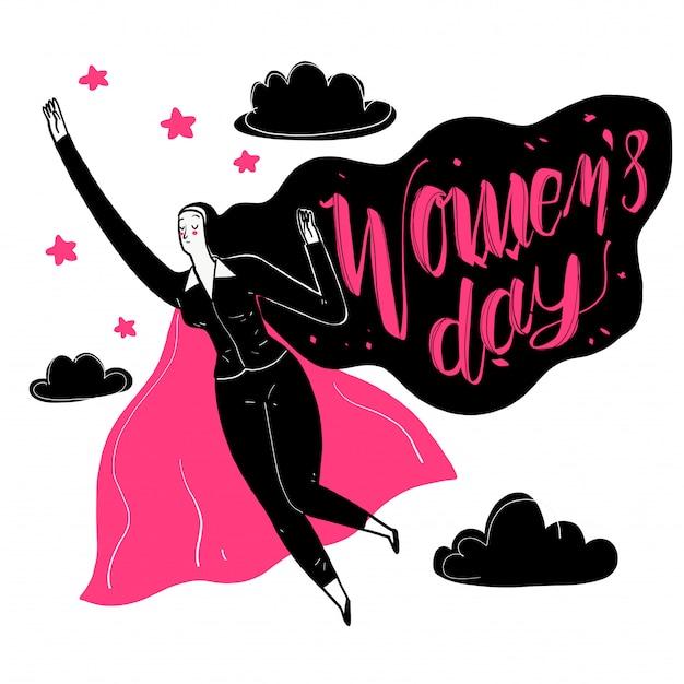Le donne lavoratrici hanno forti caratteristiche di leadership. Vettore Premium