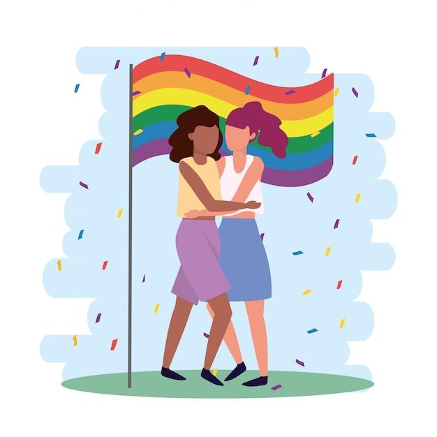 Le donne si uniscono nella parata dei lgbt Vettore Premium