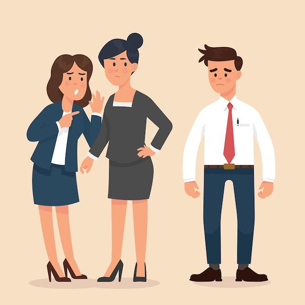 Le donne sussurrano tra loro di fronte a lavoratori di sesso maschile Vettore Premium