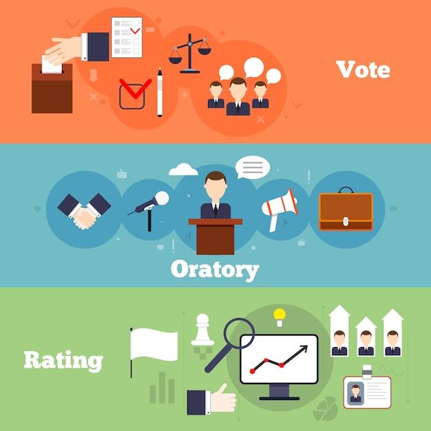 Le elezioni e l'insegna piana di voto hanno messo con l'illustrazione di vettore dell'isolato di valutazione dell'oratoria Vettore gratuito