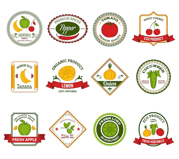 Le etichette degli ortaggi da frutto hanno fissato il colore Vettore Premium