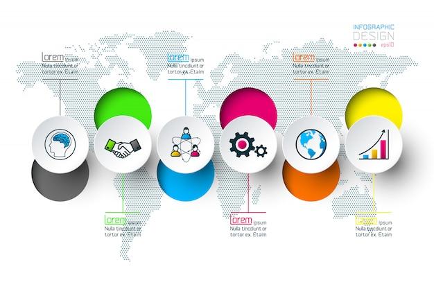 Le etichette del cerchio del business modellano la barra infographic dei gruppi. Vettore Premium