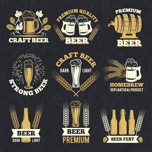 Le etichette della fabbrica di birra isolano su fondo scuro Vettore Premium