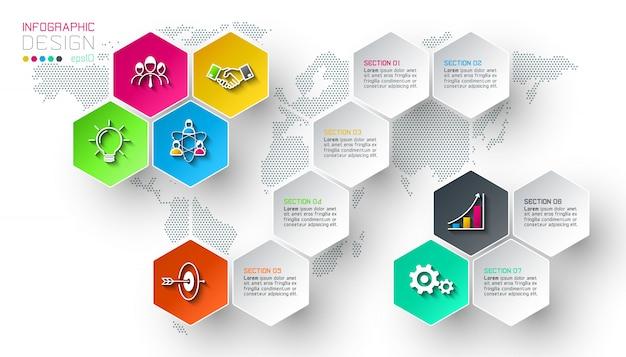 Le etichette della rete di esagono di affari modellano la barra infographic. Vettore Premium