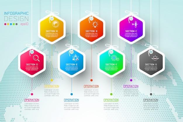 Le etichette di esagono di affari modellano la barra infographic dei gruppi. Vettore Premium
