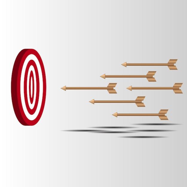 Le frecce bersaglio sparano miss tentativi di colpire bersaglio tiro con l'arco Vettore Premium