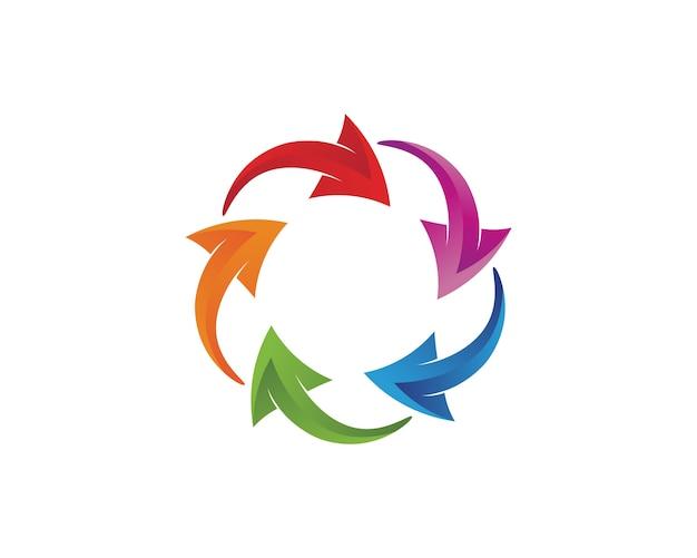 Le frecce variopinte circondano l'icona arrotondata logo Vettore Premium