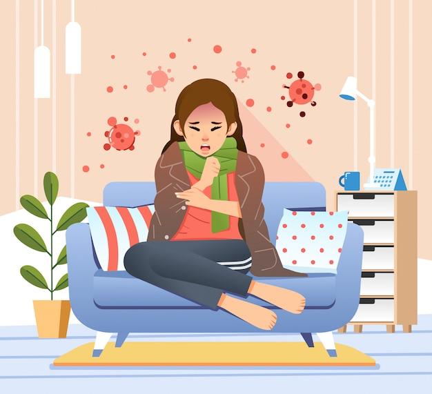 Le giovani donne che si siedono nello strato hanno sintomo del virus della corona come l'illustrazione di tosse e di febbre Vettore Premium