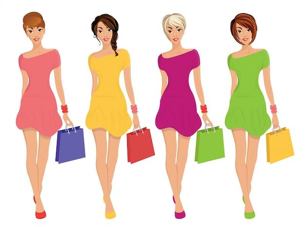 Le giovani figure moderne di acquisto sexy delle ragazze con le borse di modo di vendita Vettore Premium