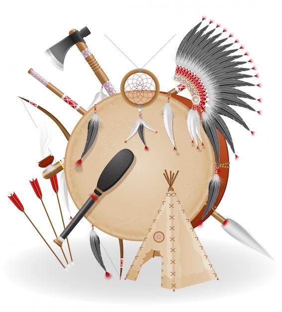 Le icone americane di concetto di indiani vector l'illustrazione Vettore Premium
