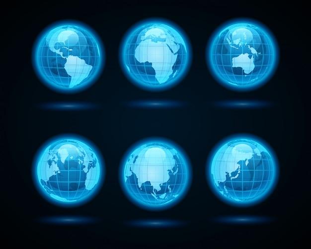 Le icone astratte della luce al neon della terra del globo hanno messo gli elementi di progettazione per progettazione di infographics. Vettore Premium