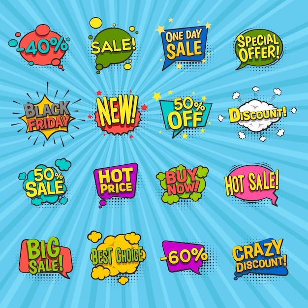 Le icone comiche di sconto hanno messo con i simboli di offerta speciale Vettore gratuito