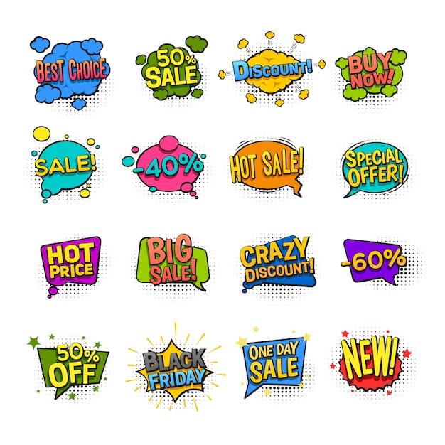 Le icone comiche di vendita hanno messo con l'illustrazione di vettore isolata piano di simboli di sconto Vettore gratuito