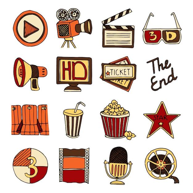 Le icone d'annata di colore dello studio cinematografico e del cinema del cinema hanno messo con l'illustrazione di vettore isolata estratto della bobina del nastro Vettore gratuito