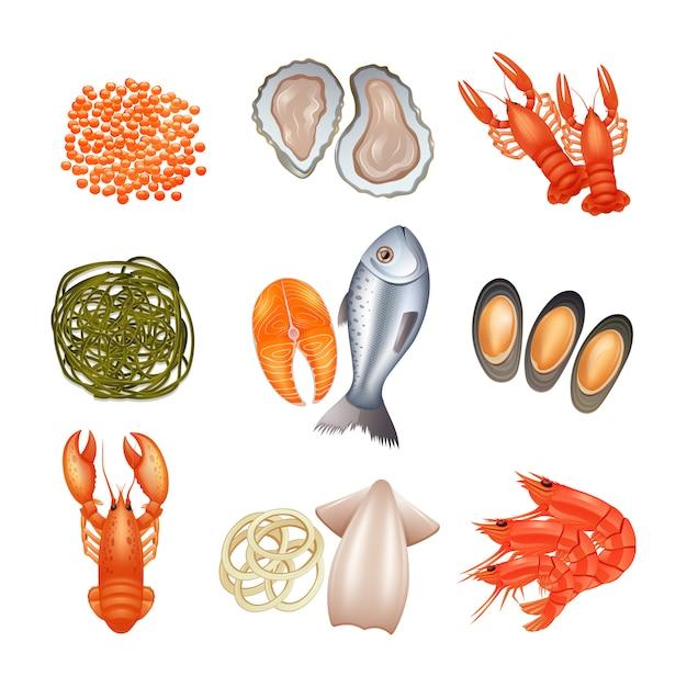 Le icone decorative dei frutti di mare hanno messo con l'alga del pesce dell'aragosta del caviale Vettore gratuito