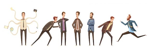 Le icone decorative dei personaggi dei cartoni animati hanno messo del gruppo maschio che comunica e che esprime le emozioni differenti Vettore gratuito
